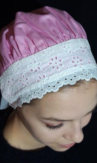 Ružový bavlnený čepiec s madeirou