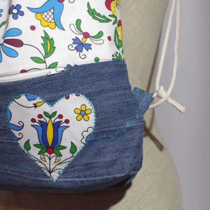 Ruksak inšpirovaný pomalou módou Jeannie-up Golfská modrá - detail stehov