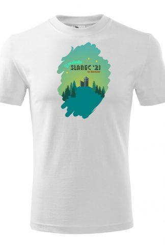 Pánske tričko s retro grafikou hrad Slanec