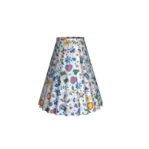 Kruhová sukňa - Folklórny vzor na bielej