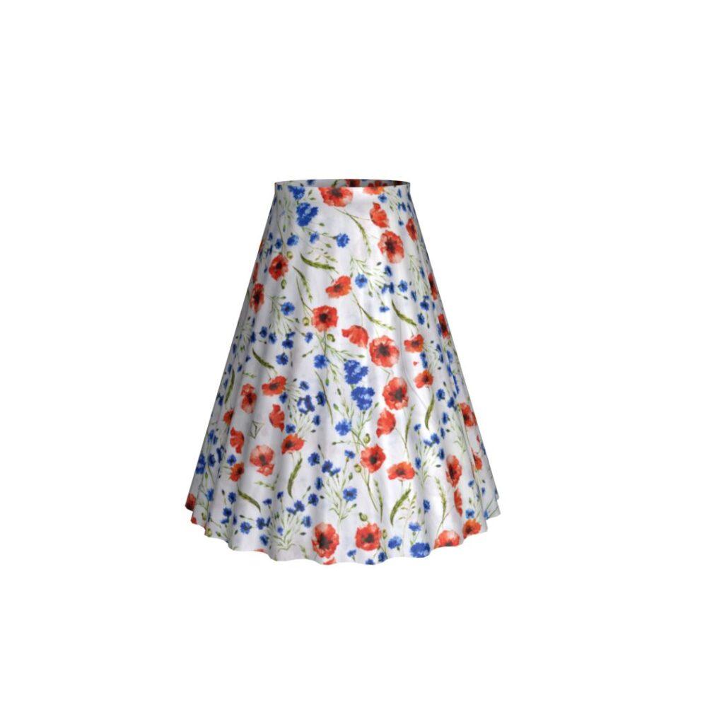 Kruhová sukňa - Maky a čakanky