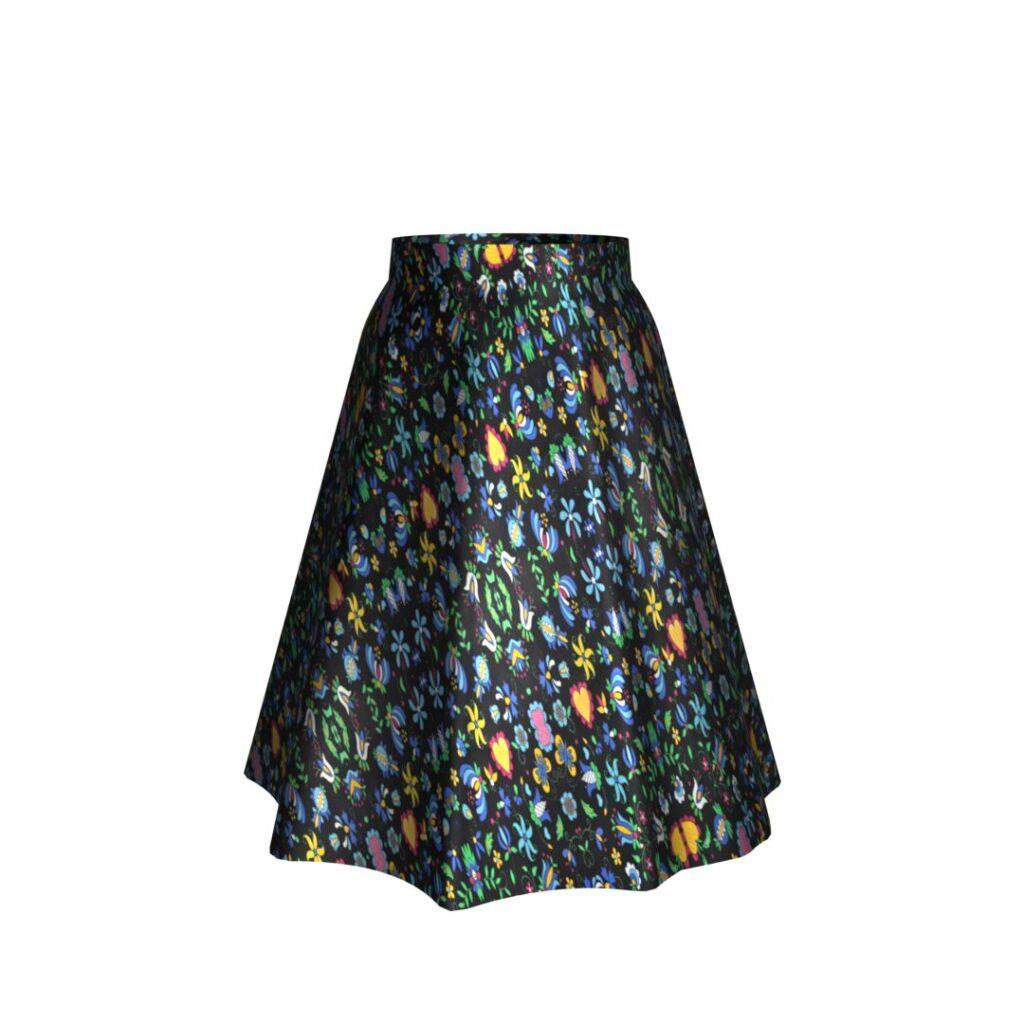 Zvonová sukňa - Folklórny vzor na čiernej